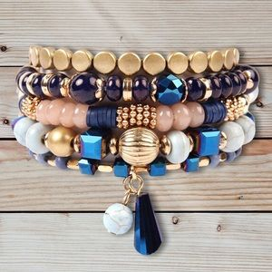 Stacked Bracelets (5) Natural Blues Tassel NWT